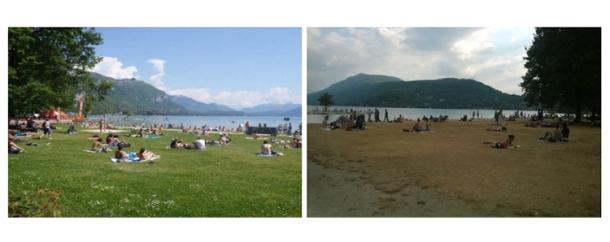 Praia lacustre de Albigny, Annecy-le-Vieux, antes e depois da seca